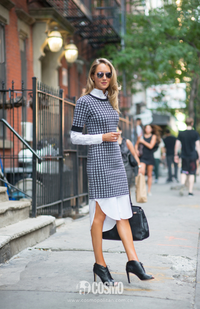 f nyfw new york fashion week street style spring summer 2015 fall thom browne brooks brothers black fleece zac posen houndstooth grey sweater dress white button down shirt dress menswear louise et cie lace