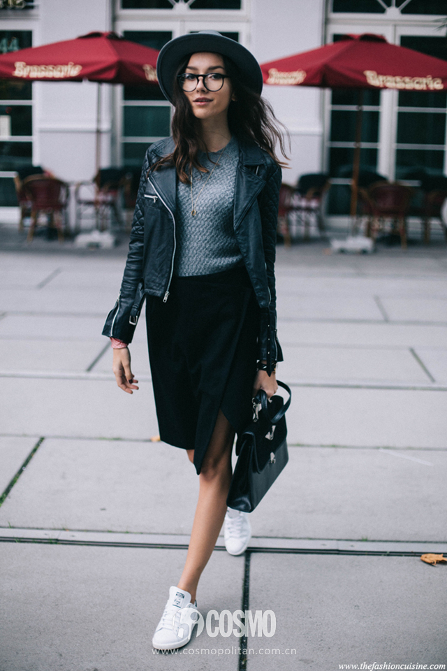 Midi-side-split-skirt-Adidas-Originals-Stan-Smith-Sneakers-Viparo-quilted-leather-jacket-Brixton-fedora-hat-1