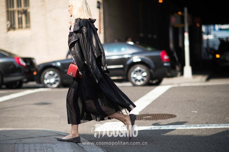 new-york-fashion-week-street-style-black-sheer-dress-leather-jacket-studded-flats