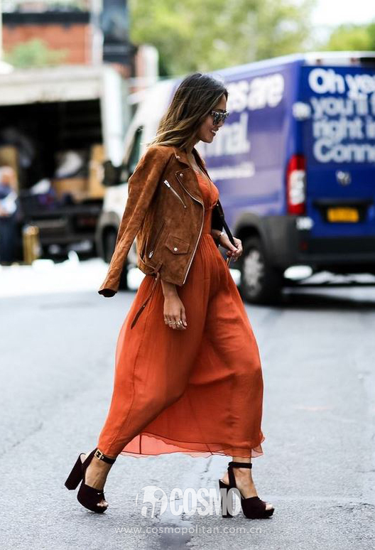 best-latest-street-fashion-new-york-fashion-week-spring-summer-ss-2016-rust-dress-brown-suede-jacket-zipper-chunky-black-heels-(1)
