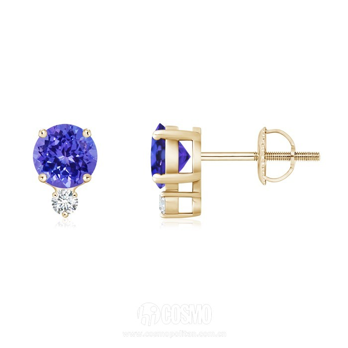 Four-Prong Set Tanzanite Basket Stud Earrings with Diamond  售价929美元 可在angara网站购买
