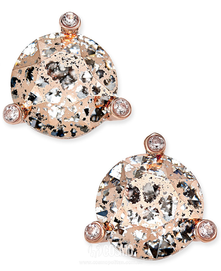 kate spade Rose Gold Tone Crystal and Stone Stud Earrings售价38美元 可在macys网站购买