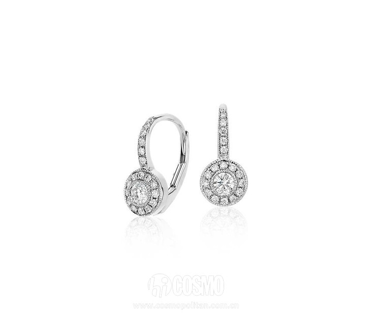 Vintage Halo Diamond Drop Earrings 售价790美元 可在bluenile网站购买