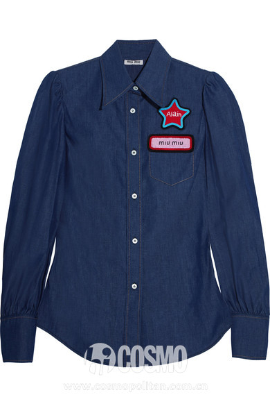 MIU MIU Appliquéd denim shirt 售价990美元 可在net-a-porter网站够买