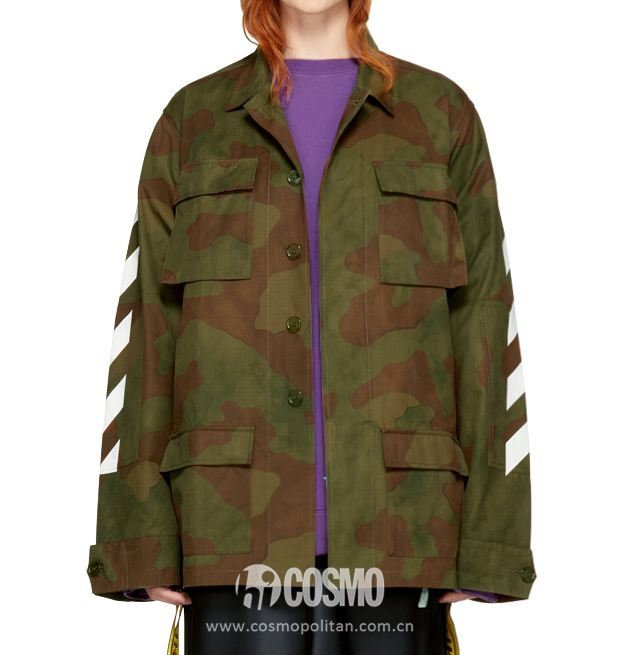 Off White Green Camo Diagonal Field Jacke 售价1225美元 可在ssense网站购买