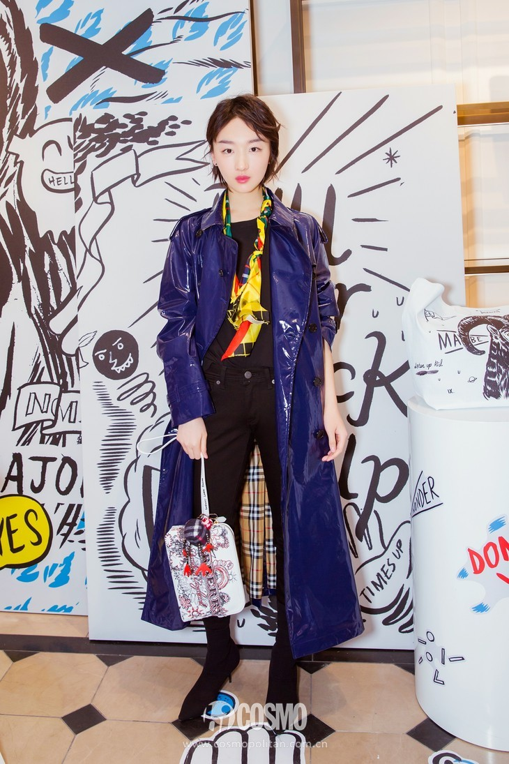 Actress Zhou Dongyu  wearing Burberry at The Doodle Event in Beijing