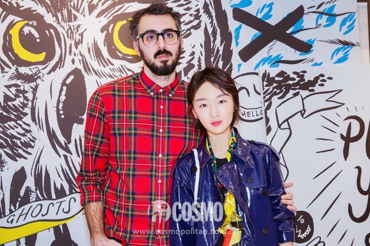 Actress Zhou Dongyu and Artist Danny Sangra at Doodle Event in Beijing Dec 1st,2017