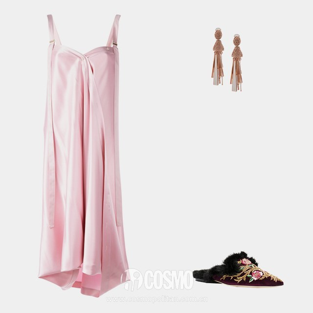 Sies Marjan shift dress, ,590, farfetch.com; Oscar de la Renta beaded drop earrings, 2, farfetch.com; Alberta Ferretti beaded mules, ,290, farfetch.com