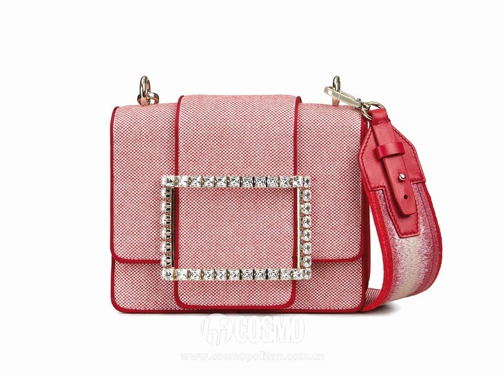 Roger Vivier Spring-Summer Collection 2020 - Tres vivier loves paris strass buckle bag Red-  HD CMJN