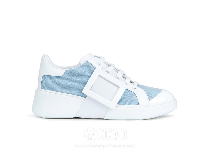 Roger Vivier Spring-Summer Collection 2020 - Viv skate lacqueres buckle  White and blue -  HD CMJN
